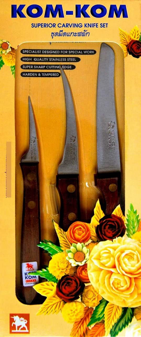 Quality inspection Thai Carving Knives Set Kom-Kom #3 Knife Hi-Carbon NEW Ste Stainless