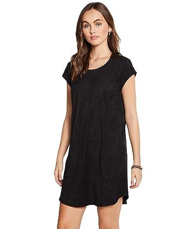 Chaser Stretch Faux Suede Cap Sleeve Shift Dress (True Black) Women