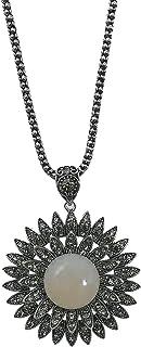 MOONSTONE Fashion Jewelry Pendant for Women, Elegant Sunflower Semi-Precious Stone Long Chain