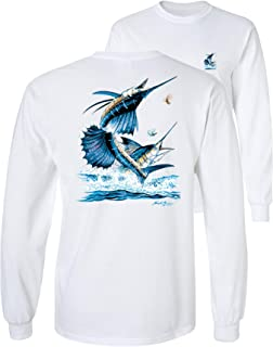Two Sailfish DEEP SEA Fishing Salt Water Fish Long Sleeve...