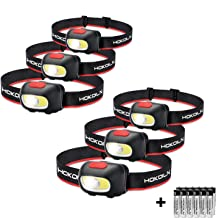 HOKOILN LED Headlamp Flashlight [6PACK] 5 Modes Adjustable Head Lamp with Red COB Safety Warning Light for Kids and Adults, Hiking, Fishing, Camping and Outdoor Headlamps, 18 x AAA Alkaline Batteries