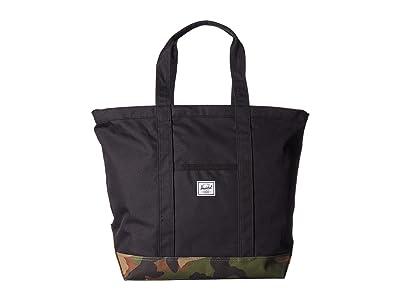 Herschel Supply Co. Bamfield Mid-Volume (Black/Woodland Camo) Tote Handbags