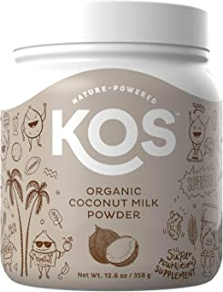 KOS Organic Coconut Milk Powder - Unsweetened, Dairy Free Coconut Milk Powder - USDA Organic, Keto Friendly, No Additives, Plant Based Ingredient, 358g, 179 Servings