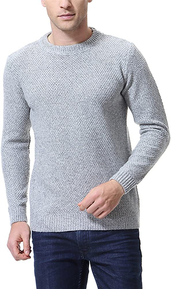 AOWOFS Men's Sweater Fashion Slim Fit Basic Warm Fall 5 Solid Colors Pullover