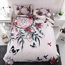 Nbibsaacy 3D 3 Pieces Duvet Cover Tropical Feather Bedding Cover Bohemia White Bedding Dream Catcher Brushed Microfiber 1 Quilt Cover 2 Pillow Shams,c,Queen