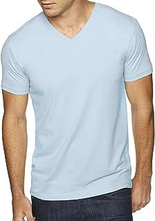 Next Level Men's Premium Sueded Short Sleeve V-Neck T-Shirt, M, LIGHT BLUE