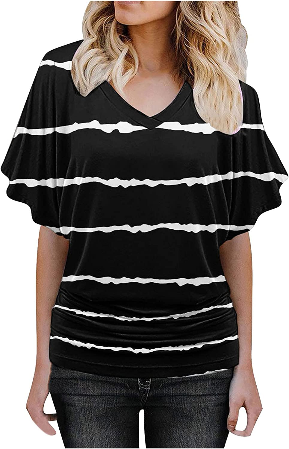 FAMOORE Women's Print Oakland Mall Short Sleeve Direct sale of manufacturer V Top Blouse T Shirts Neck