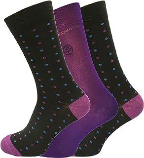 Socks Uwear Mens Bamboo Range Business Polka Dots Socks-UK 7-11 Purple (12 pair pack)