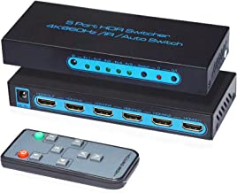 4K@60Hz HDMI Switch 5x1,FiveHome 5 Port HDMI Switcher IR Wireless Remote Support Auto Switch, HDCP 2.2,HDR,Full HD/3D