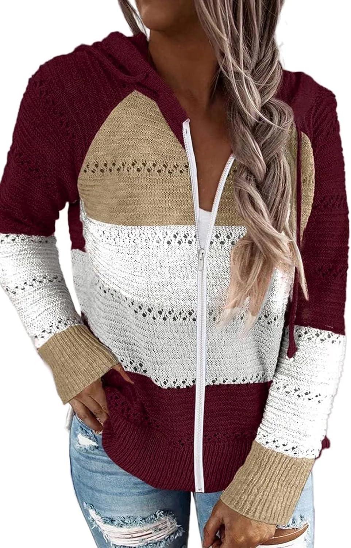 JOCAFIYE Womens Color Block Pullover Long Sleeve Hoodies Fashion V Neck Stripes Knit Sweaters