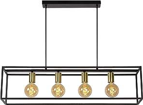 Lucide RUBEN - Hanglamp - 4xE27, Zwart, mat goud/messing