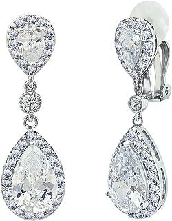 Clear Rhinestone Clip On Chandelier Earrings Bridal Pageant 3.9 inch Drag Queen