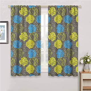 Floral Room Darkened Heat Insulation Curtain Blossoming Rose Petals Romantic Bouquet with Vintage Inspirations Living Room W84 x L84 Inch Azure Blue Yellow Green Grey