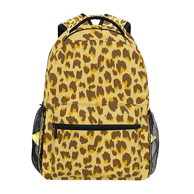 Backpack Natural Color Leopard Pattern Canvas School Bags Laptop Daypack