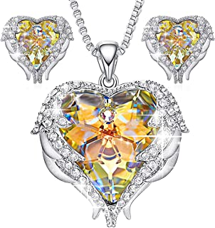 CDE Jewelry Set for Women Angel Wing Swarovski Crystal Pendant Necklace Heart of Ocean Stud Earrings for Girls Mom Gift for Mothers Day