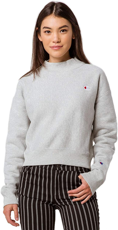 Champion Damen Reverse Weave Mock Neck Crop - Small Left Chest C Sweatshirt
