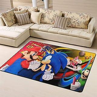 Zmacdk Sonic The Hedgehog - Alfombra para sala de estar y aula, fácil de limpiar para niños, dormitorio de 180 cm x 270 c...