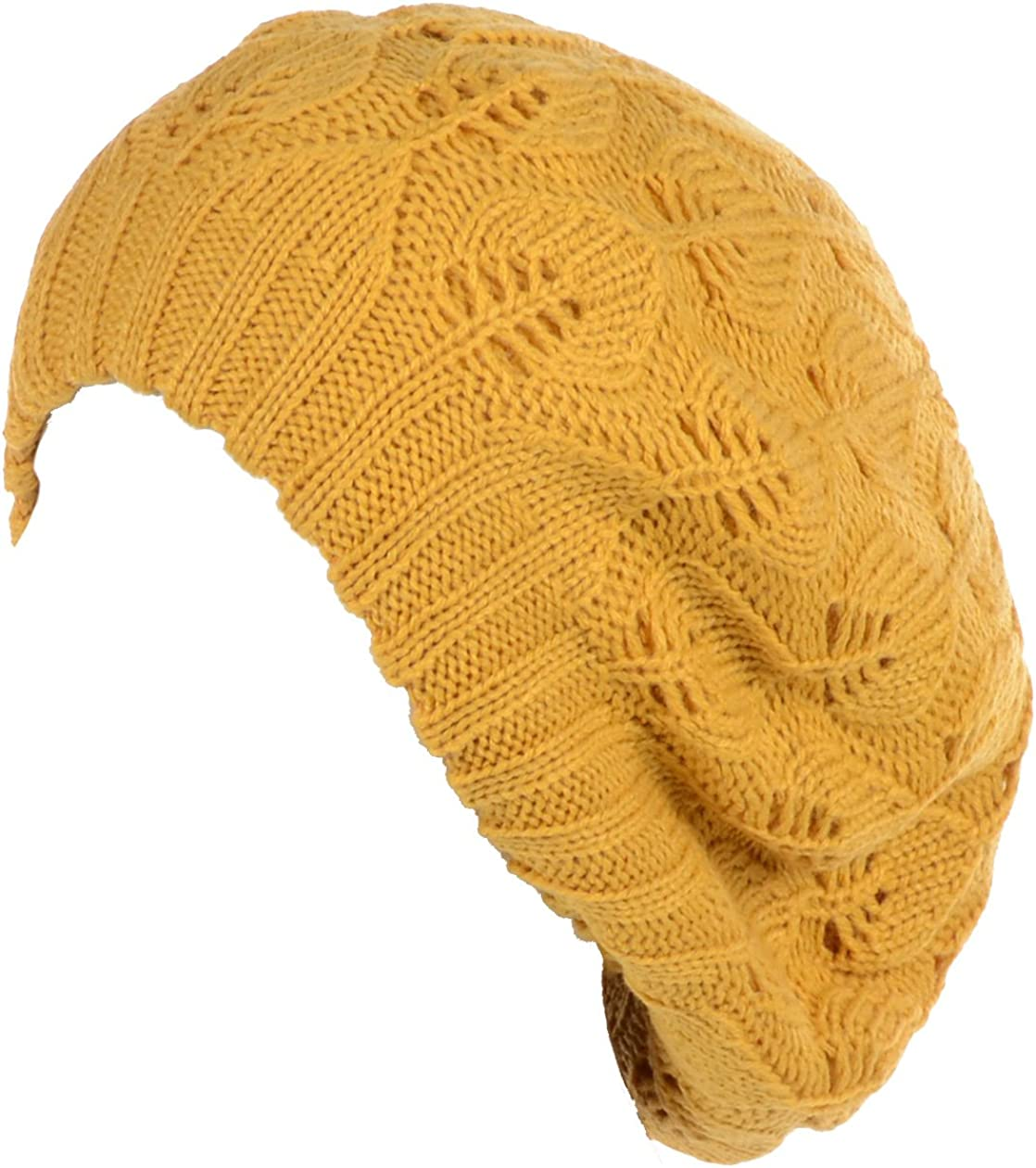 BYOS Women Mid-Weight Slouchy Leafy Cutout Crochet Soft Knit French Beret Hat