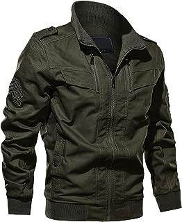 Men's Cotton Stand Collar Lightweight Windbreaker Jacket Full Zip Bomber Jacket Men with Shoulder Straps