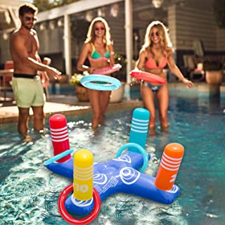Inflatable Ring Toss Game Floating Swimming Ring with 4 Pcs Inflatable Rings for Multiplayer Water Pool Game Kid Family Pools Toys & Water Fun Outdoor Play Game Party Favors