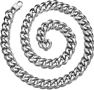 Granny Chic 12/15/17/19mm Mens Chain Necklace Stainless Steel Curb Cuban Link Choker Hip Hop Xxxtentacion Miami Rapper Necklace