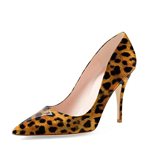 ed44ed57b9fe YDN Women s Chic Pointed Toe Mid Heel Pumps Polka Dots Slip on Stilettos  Shoes for Party