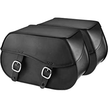 Nomad USA Extra-Large Universal Reinforced Armor Synthetic Black Leather Throw Over Motorcycle Saddlebags (Plain)