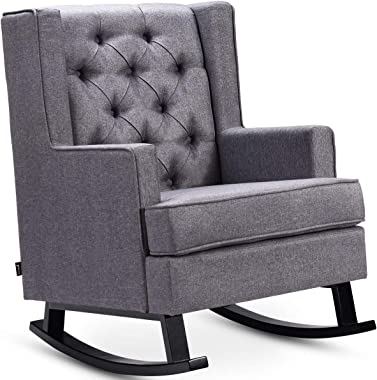 Giantex Tufted Upholstered Wingback Rocking Chair w/Wood Frame and Soft Cushion, Mid-Century Retro Modern Style for Living Room Bedroom, Accent Leisure Chair (Gray)