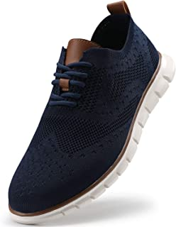 VILOCY Men's Mesh Wingtip Oxford Breathable Walking Shoes Casual Lightweight Lace up Sneaker