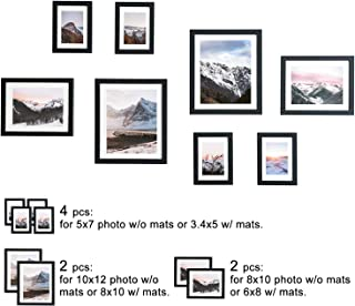 WOOD MEETS COLOR Gallery Picture Frames Set of 8, Including Hanging Template, White Photo mats, 2-10x12, 2-8x10, 4-5x7 Collage Frames (Black)