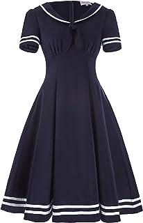 Belle Poque Women's Retro Sailor Dress Short Sleeve Cocktail Party Swing Dress