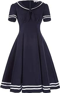 Women's Retro Sailor Dress Short Sleeve Cocktail Party Swing Dress