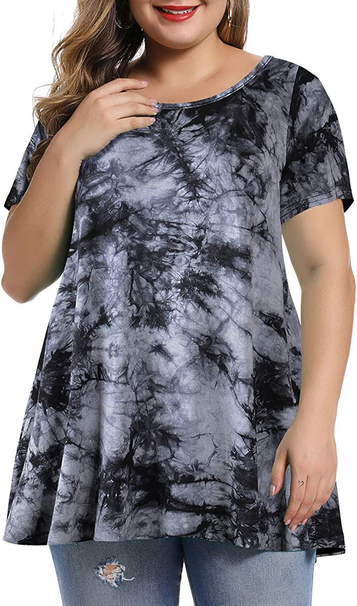 MONNURO Womens Short Sleeve Casual Loose Fit Flare Swing Tunic Tops Basic T-Shirt Plus Size