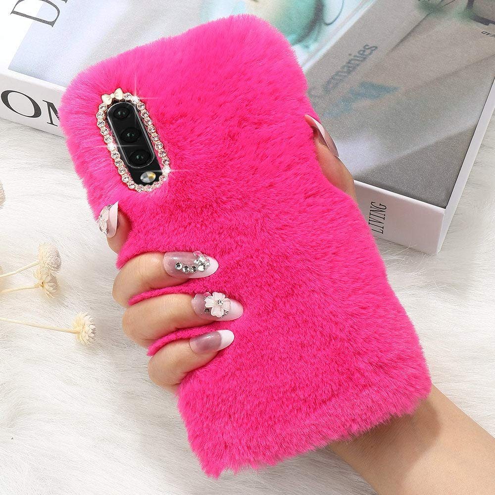 Plush Cover for Samsung Galaxy S8 Plus Case LAPOPNUT Luxury Faux Fur Case Luxury Super Soft Cover Fluffy Furry Shockproof Back Case Cover with Chic Bowknot Bling Crystal Diamond, Hot Pink
