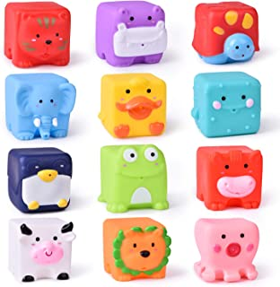 12 PCs Kids Bath Toys, Soft Cube Bath Squirters for Toddler, Squeeze Water Toys Building Blocks for Kids, Birthday Gifts for Boys and Girls