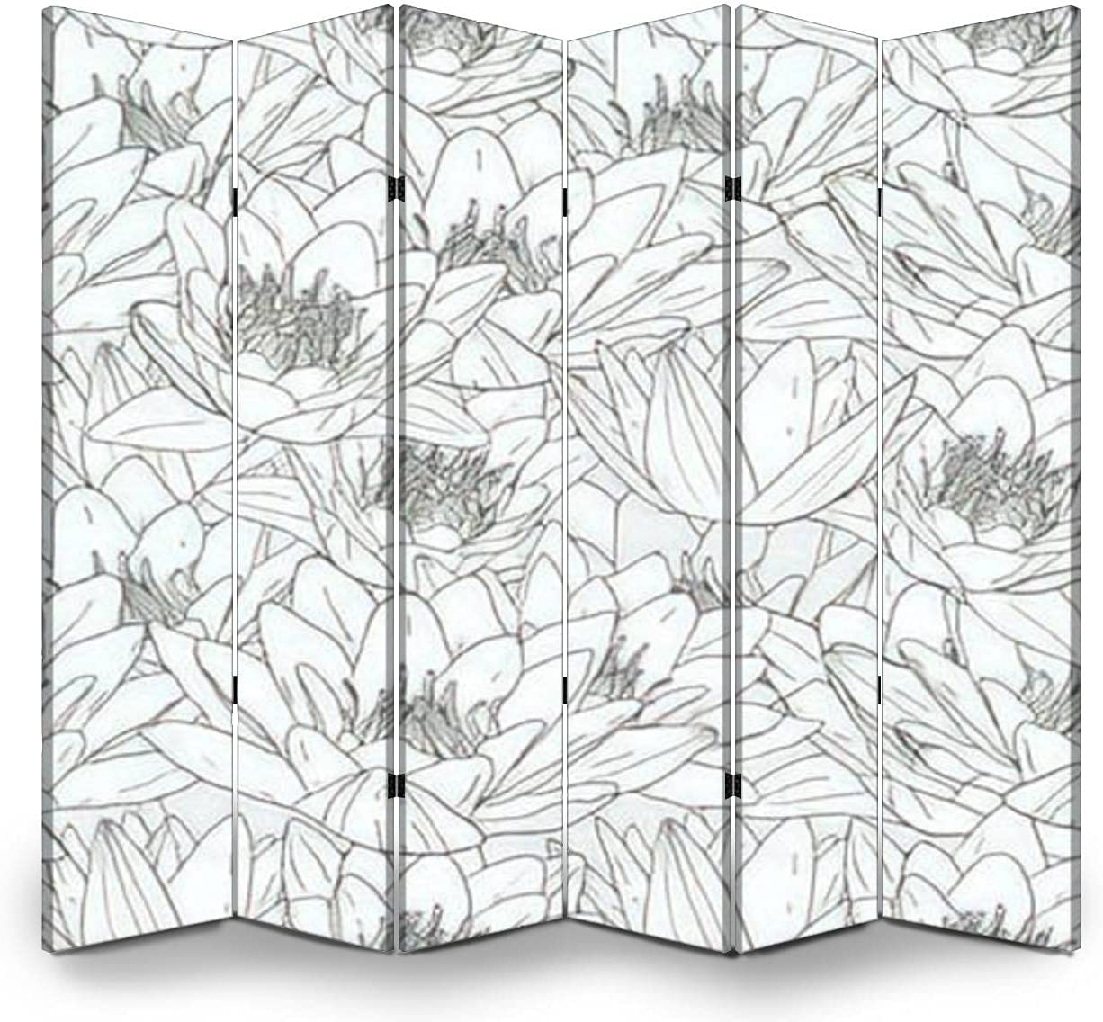 6 Panel Wall Divider Seamless Pattern Lily 5% OFF White Flowers with Fo Max 87% OFF