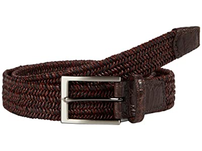 Torino Leather Co. 35 mm Italian Twist Woven Leather Cotton Elastic (Brown) Men