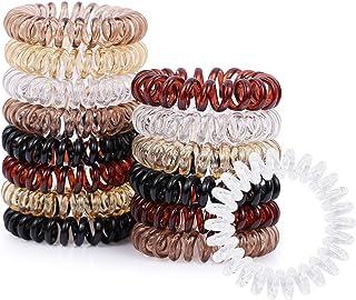 Spiral Hair Ties, V-Opitos 15Pcs No Crease Hair Ties, Colorful Phone Cord Hair Ties, Hair Coils, Elastic Coil Hair Ties for Women Girls