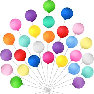 30 Pieces Balloon Pick Cake Toppers Colorful Clay Balloon Cake Picks Round Shape Balloons Cupcake Toppers Picks for Birthd...