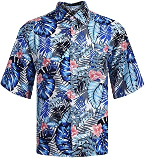 Forthery Summer Men's Leisure Short-Sleeved Men's Comfortable Leisure Floral Print Shirt Tops