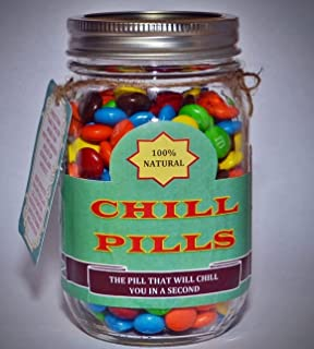 Best Gag Gift - Chill Pill | Funny Gift for Boyfriend | Gift for Girlfriend | Gift for Men | Gift for Women | Gift for Friends | Birthday Gift | Christmas Gift - EMPTY MASON JAR WITH LABELS