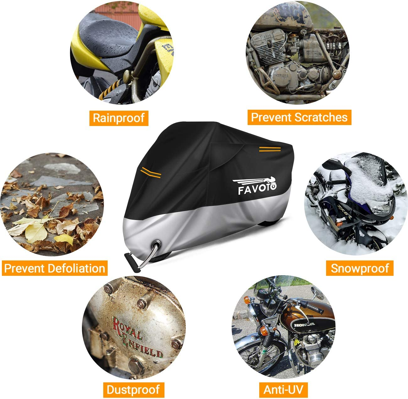 Favoto Motorcycle Cover Universal 96.5 inches in Length Heavy Duty Oxford Fabric with Air Vents Lock-hole 3 Night Reflectors Windproof Buckles Carrying Bag Waterproof Rain Dust Sun Outdoor Protection