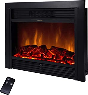 BEAMNOVA 28 Inch Electric Fireplace Black Freestanding Heater Insert Wall Mounted Glass View Log Flame w/Remote