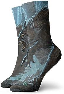 AEMAPE, Medias de lobo feroz para hombre de lujo colorido divertido novedad calcetines regalo