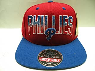 American Needle MLB Philadelphia Phillies Script Red Royal 2 Tone Retro Snapback Cap
