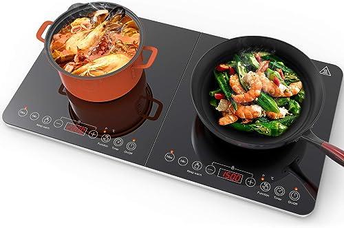 Aobosi Plaque à induction, plaque de cuisson à induction double, table de cuisson portable, commande par capteur et p...