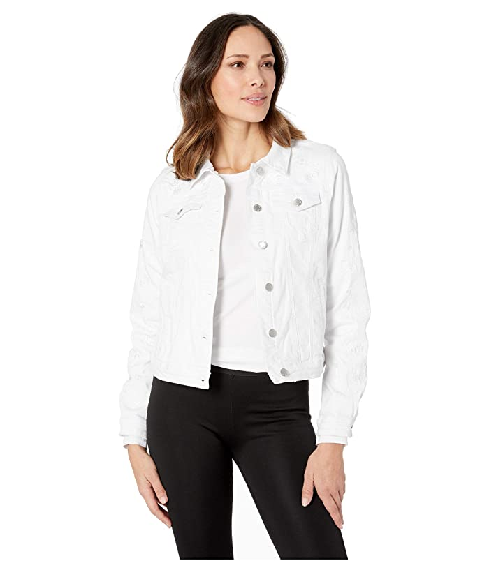 FDJ French Dressing Jeans  Statement Denim Tonal Embroidered Jean Jacket (White) Womens Clothing