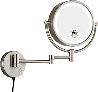 GURUN 8.5 Inch Magnifying Mirror With Led Light Wall Mount,10x Magnification, Brushed Nickel Finish M1809DN(8.5in,10x)