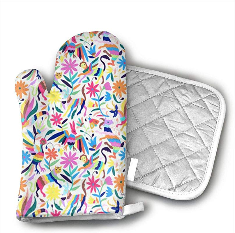 JSPOR07 Mexican Otomi Animals Oven Mitts Heat Comfort Safety Kitchen Oven Gloves With Quilted Liner Professionally Protect Your Hand During Baking Doing BBQ