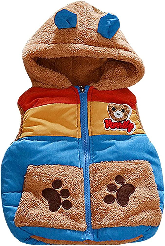BPrince Kids colorful Quilted Fleece Bear Appliques Zip Up Hooded Thick Vest
